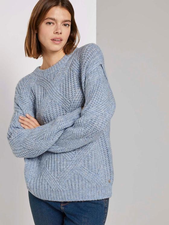 Pullover mit Ajour-Struktur - Frauen - cosy blue melange - 5 - TOM TAILOR Denim