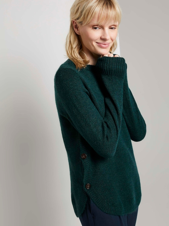 Lockerer Pullover mit Knopfdetails - Frauen - deep green lake melange - 5 - Mine to five