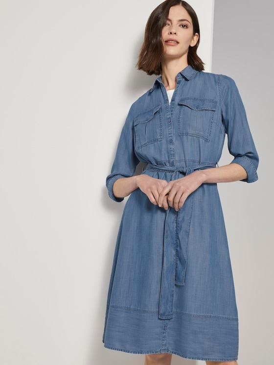 Denim Kleid im Shirt-Style - Frauen - Clean Bleached Blue Denim - 5 - TOM TAILOR