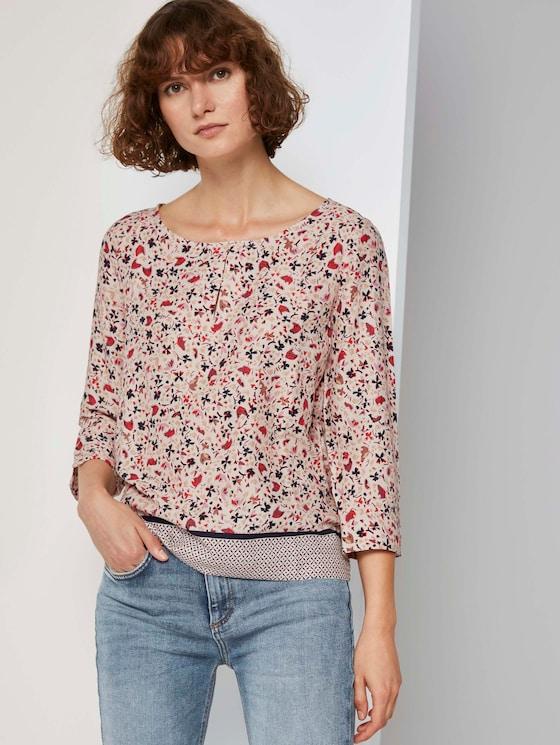 3/4-Arm Bluse mit Blumenprint - Frauen - beige flower design - 5 - TOM TAILOR