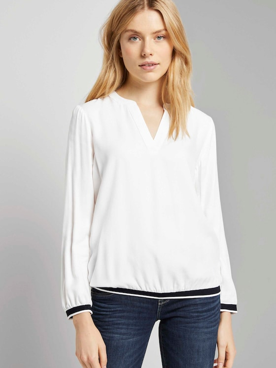 Henley-Bluse mit Tapedetail - Frauen - Whisper White - 5 - TOM TAILOR