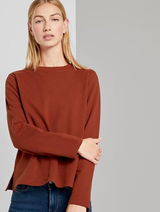 Sweatshirt mit Seitenschlitzen - Frauen - Rust Orange - 5 - TOM TAILOR Denim