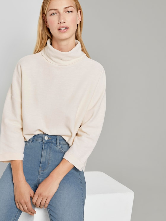 Sweatshirt met coltrui - Vrouwen - soft creme beige - 5 - TOM TAILOR Denim