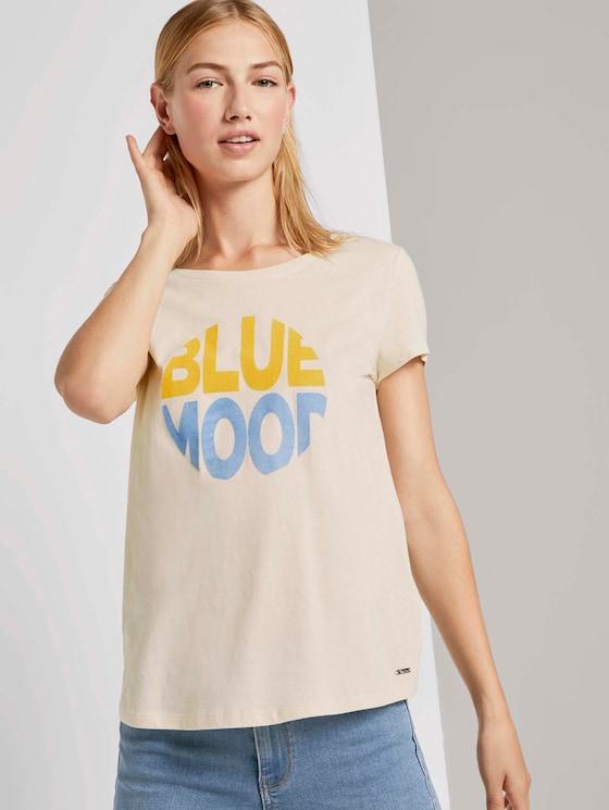 T-Shirt mit Schriftprint - Frauen - soft creme beige - 5 - TOM TAILOR Denim