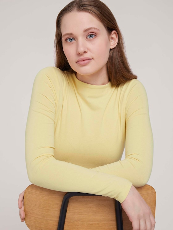 Langarmshirt mit Bio-Baumwolle - Frauen - soft yellow - 5 - TOM TAILOR Denim