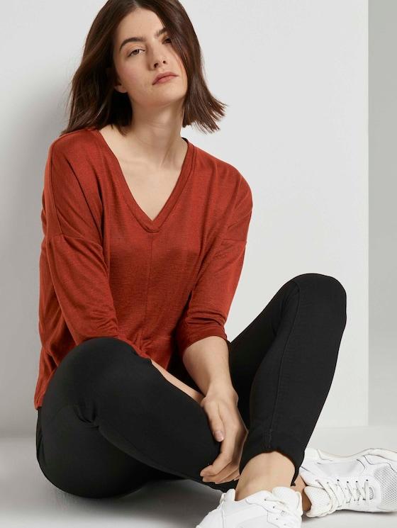 Shirt mit Fledermausärmeln - Frauen - Rust Orange - 5 - TOM TAILOR Denim