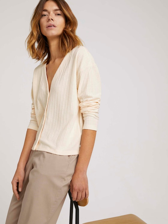 kurzer Cardigan mit V-Ausschnitt - Frauen - soft creme beige - 5 - TOM TAILOR Denim