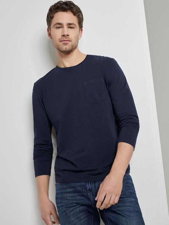 Gestreiftes Langarmshirt mit Struktur - Männer - Sky Captain Blue - 5 - TOM TAILOR