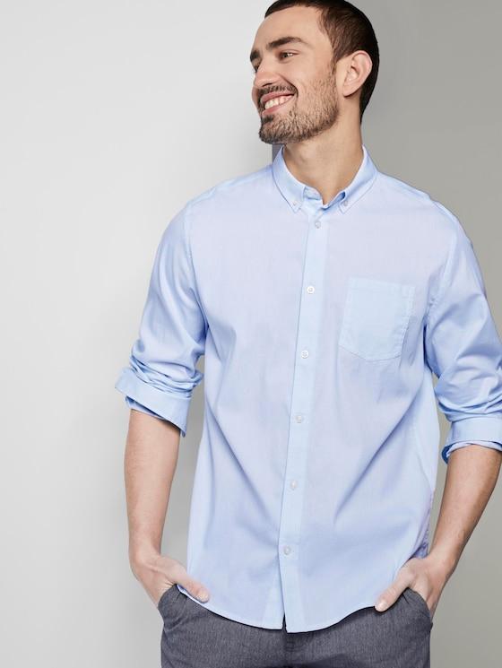 Gemustertes Hemd mit Brusttasche - Männer - light blue white structure - 5 - TOM TAILOR