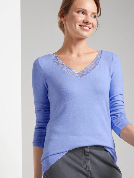 Langarmshirt mit Spitzenbesatz - Frauen - parisienne blue melange - 5 - TOM TAILOR