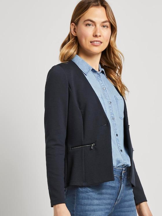 Kragenloser Blazer mit Reißverschlusstaschen - Frauen - Sky Captain Blue - 5 - TOM TAILOR