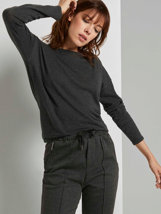 Basic Pullover aus Organic Cotton - Frauen - Shale Grey Melange - 5 - TOM TAILOR Denim
