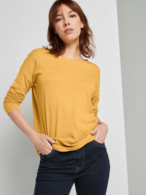 Basic Pullover aus Organic Cotton - Frauen - indian spice yellow melange - 5 - TOM TAILOR Denim