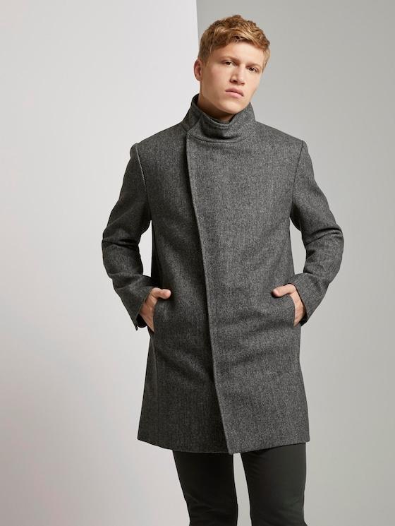 Asymmetrischer Mantel mit Stehkragen - Männer - grey melange twill - 5 - TOM TAILOR Denim