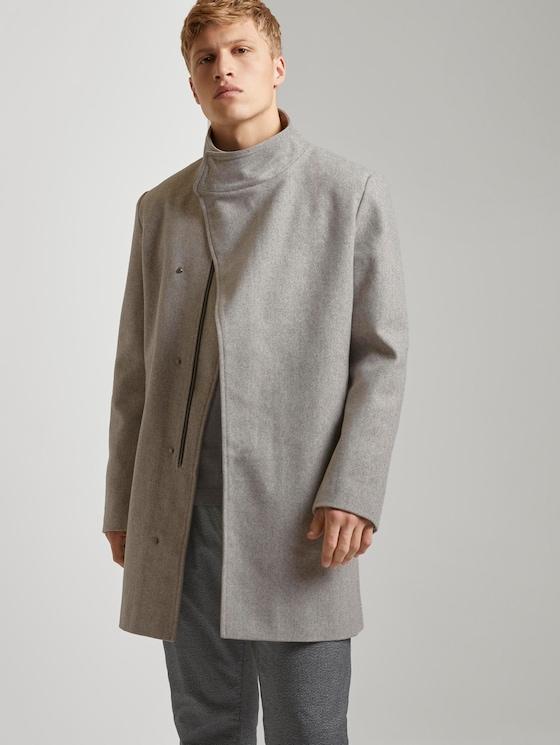 Asymmetrischer Mantel mit Stehkragen - Männer - grey herringbone - 5 - TOM TAILOR Denim