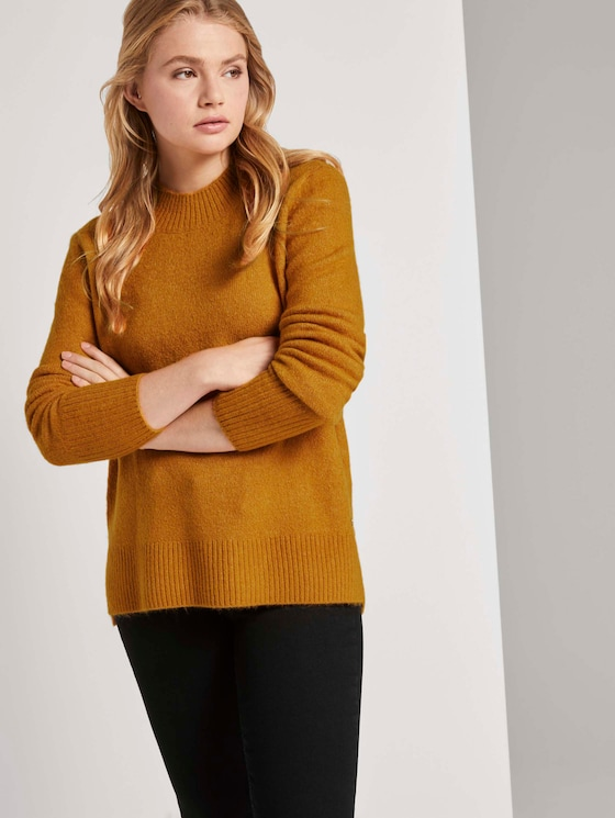 Melierter Pullover mit Stehkragen - Frauen - orange yellow melange - 5 - TOM TAILOR Denim