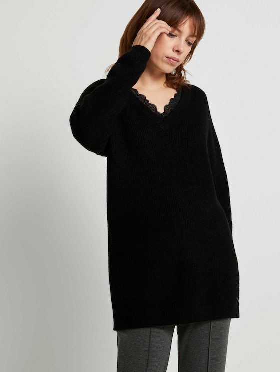 Langer Pullover mit Spitze - Frauen - Deep Black - 5 - TOM TAILOR Denim
