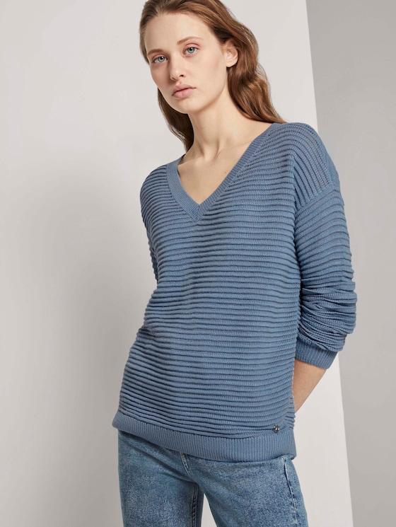 Pullover mit Ottoman Struktur - Frauen - soft mid blue - 5 - TOM TAILOR Denim