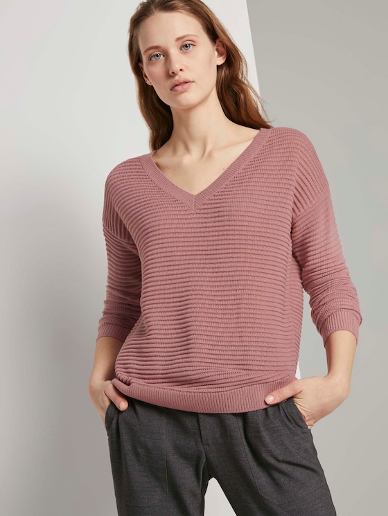 Pullover mit Ottoman Struktur - Frauen - cozy rose - 5 - TOM TAILOR Denim
