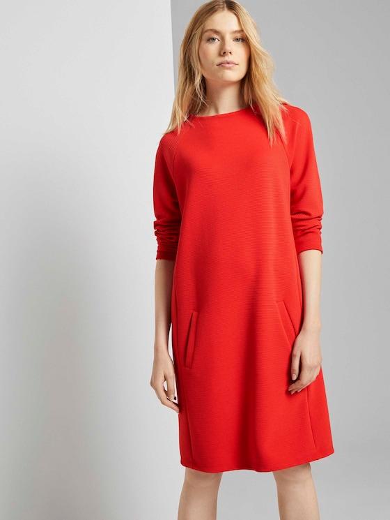 Comfortabele jurk met opstaande kraag - Vrouwen - Strong Red - 5 - TOM TAILOR