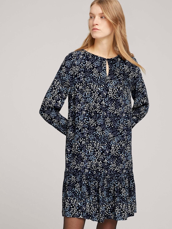 Geblümtes Volant Kleid mit LENZINGTM ECOVEROTM   - Frauen - navy multicolor flower design - 5 - TOM TAILOR
