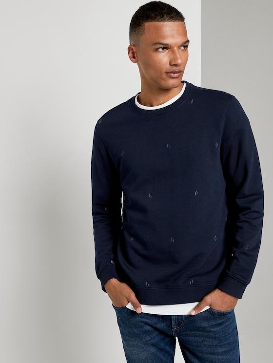 Besticktes Sweatshirt - Männer - navy big split drop print - 5 - TOM TAILOR Denim