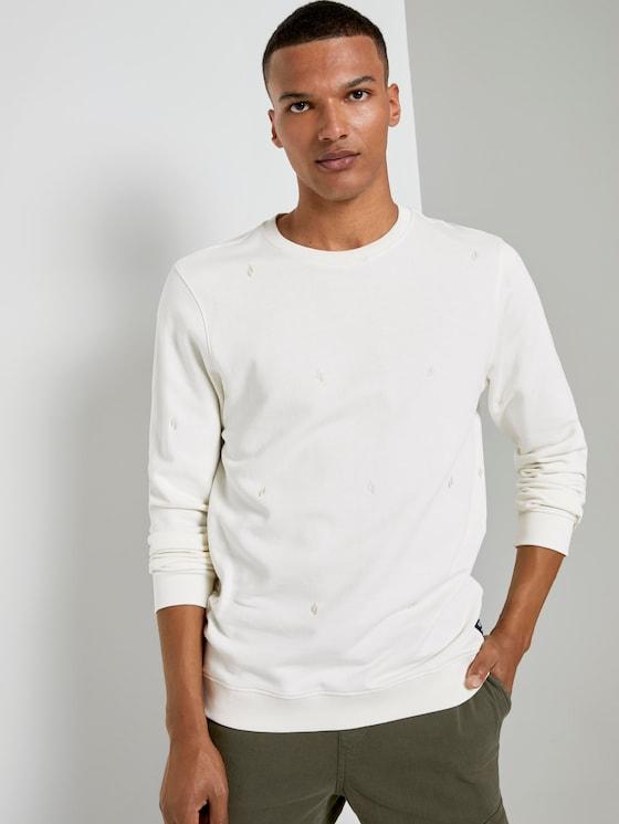 Besticktes Sweatshirt - Männer - white big split drop print - 5 - TOM TAILOR Denim
