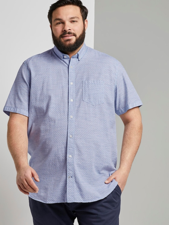 Multi-coloured short-sleeved shirt with a chest pocket - Men - light blue structure by design - 5 - Men Plus