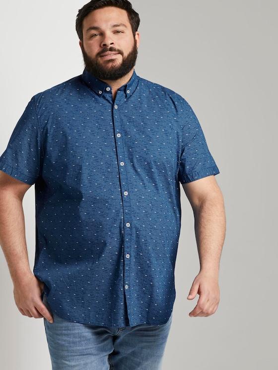 Gemustertes Kurzarmhemd - Männer - navy blue white grid design - 5 - Men Plus
