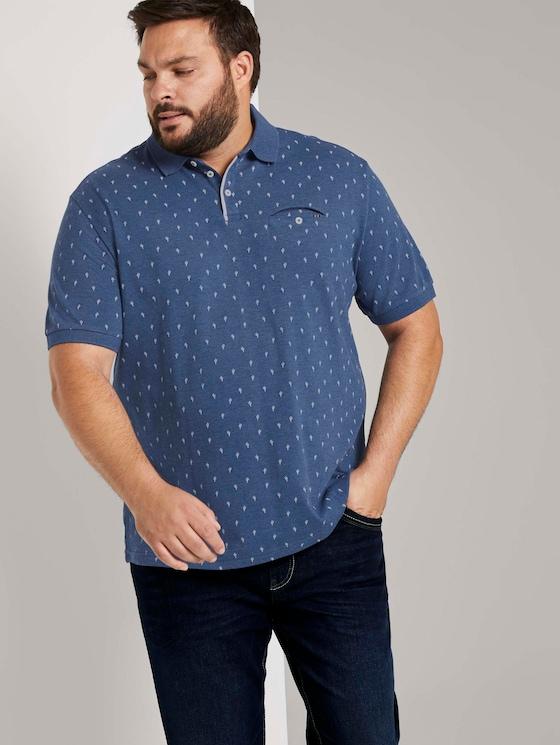 Poloshirt mit Kaktus-Print in Mélange-Optik - Männer - blue cactus design - 5 - Men Plus