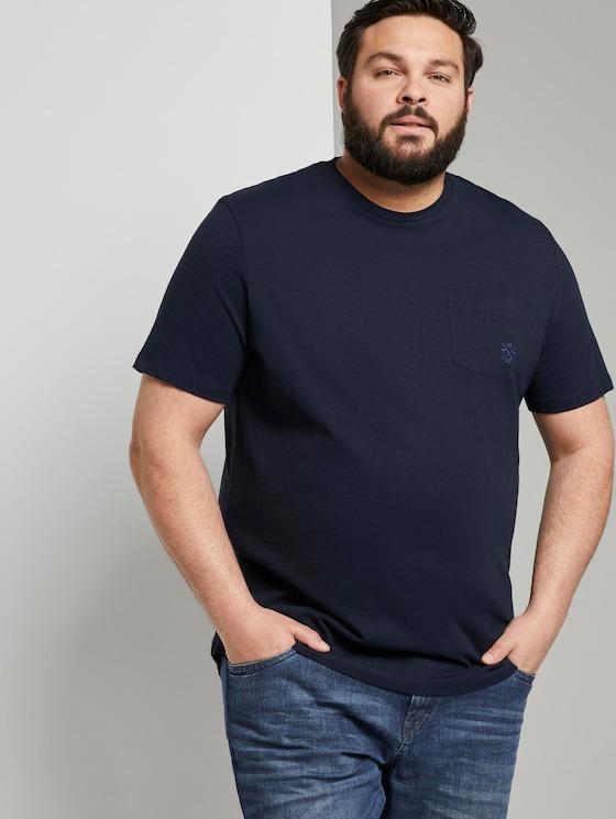 Meliertes Basic T-Shirt mit Brusttasche - Männer - Sky Captain Blue - 5 - Men Plus