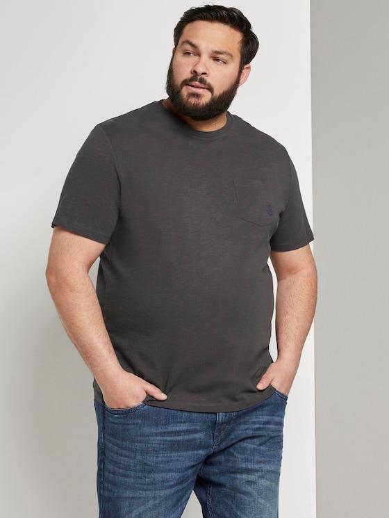 Meliertes Basic T-Shirt mit Brusttasche - Männer - Tarmac Grey - 5 - Men Plus