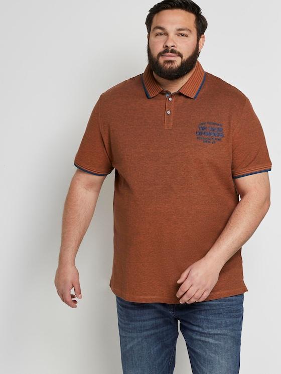 Zweifarbiges Poloshirt mit Logo-Stickerei - Männer - orange twotone structure - 5 - Men Plus