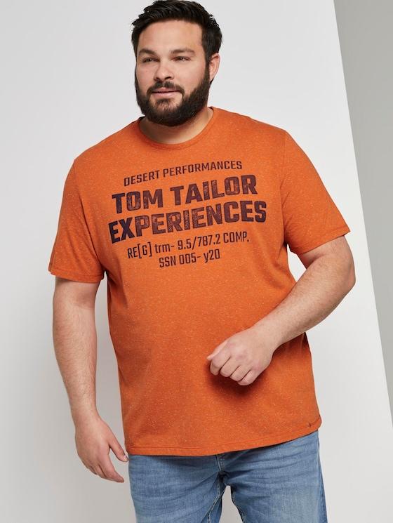 Meliertes T-Shirt mit Print - Männer - orange grindle stripe - 5 - Men Plus