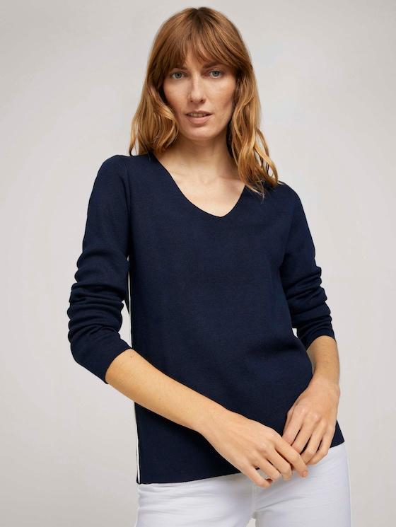 Pullover mit LENZING™ ECOVERO™ und Kontraststreifen - Frauen - Sky Captain Blue - 5 - TOM TAILOR