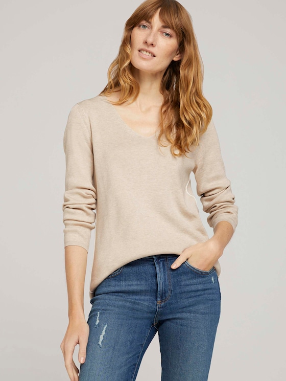 Pullover mit LENZING™ ECOVERO™ und Kontraststreifen - Frauen - beige alfalfa melange - 5 - TOM TAILOR