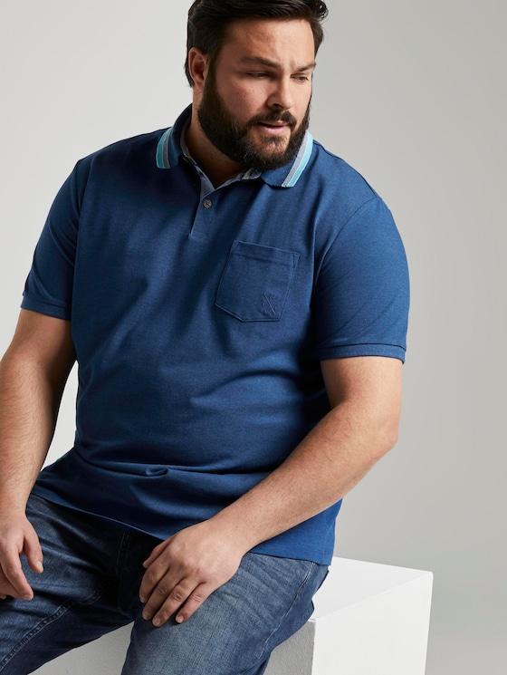 Poloshirt mit Brusttasche - Männer - after dark blue white melange - 5 - Men Plus