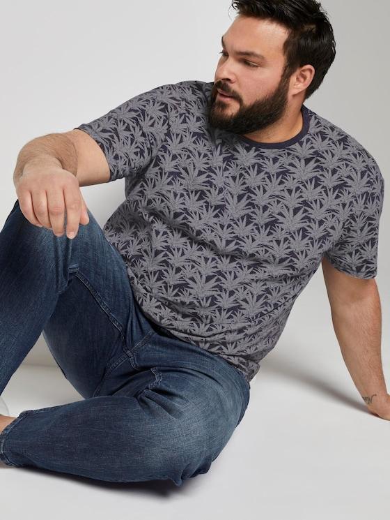 T-Shirt im Print - Männer - navy white agave design - 5 - Men Plus