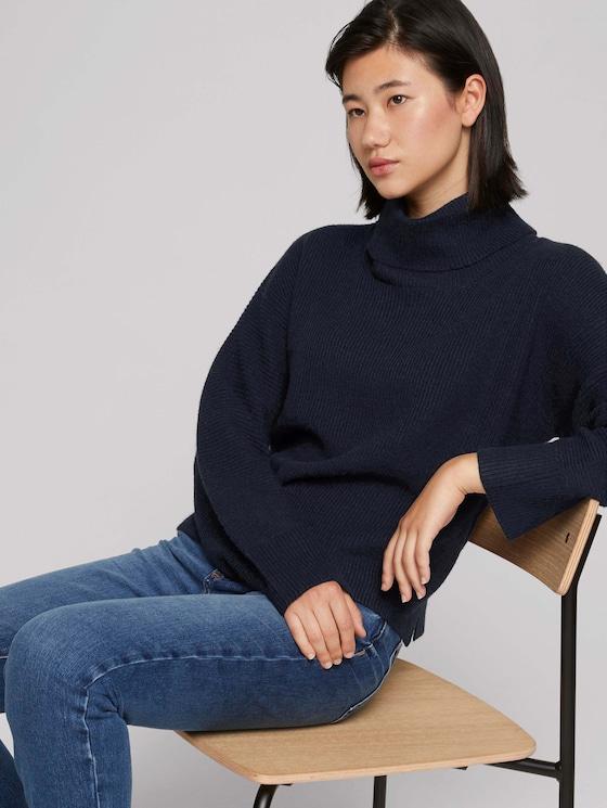Wide turtleneck sweater - Women - Sky Captain Blue - 5 - TOM TAILOR