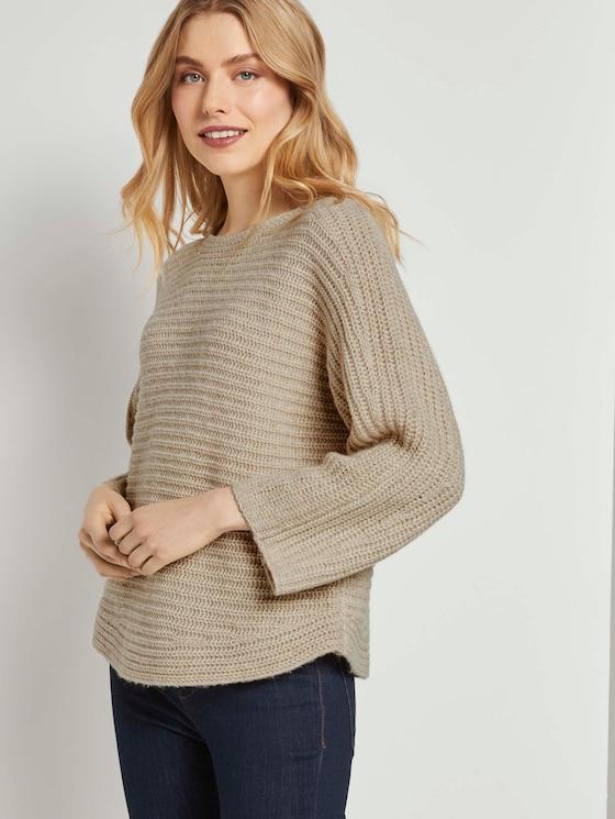 Melierter Pullover mit Fledermausärmeln - Frauen - desert sand melange - 5 - TOM TAILOR