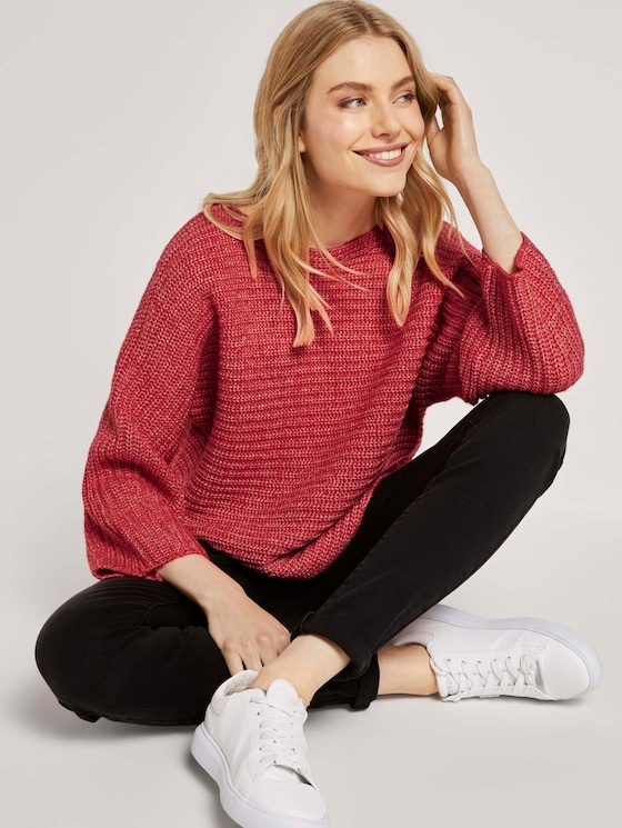 Melierter Pullover mit Fledermausärmeln - Frauen - strong red melange - 5 - TOM TAILOR