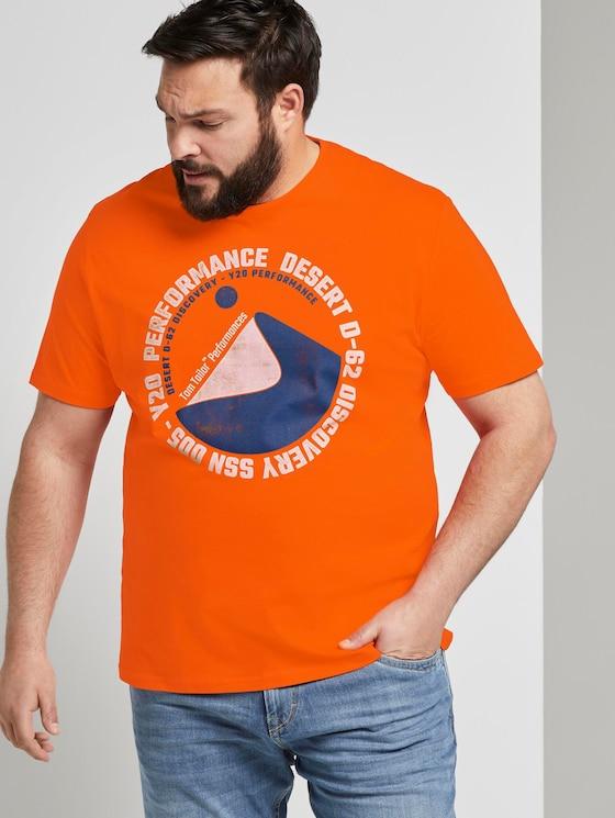 T-Shirt mit Kontrast-Print - Männer - true orange - 5 - Men Plus
