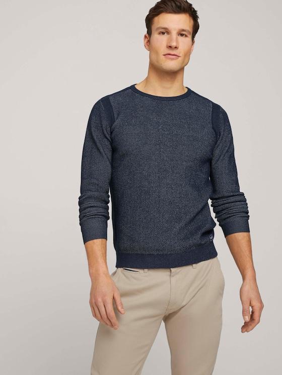 Pullover mit Rippbündchen - Männer - Dark Blue - 5 - TOM TAILOR