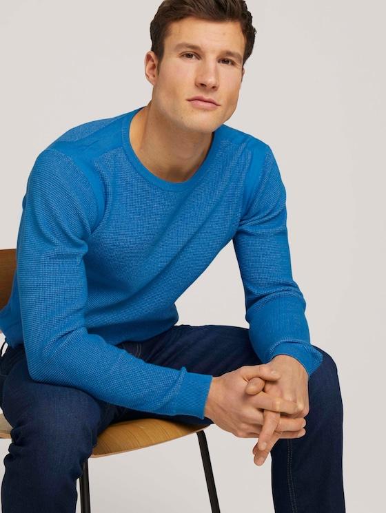 Pullover mit Rippbündchen - Männer - bright ibiza blue - 5 - TOM TAILOR