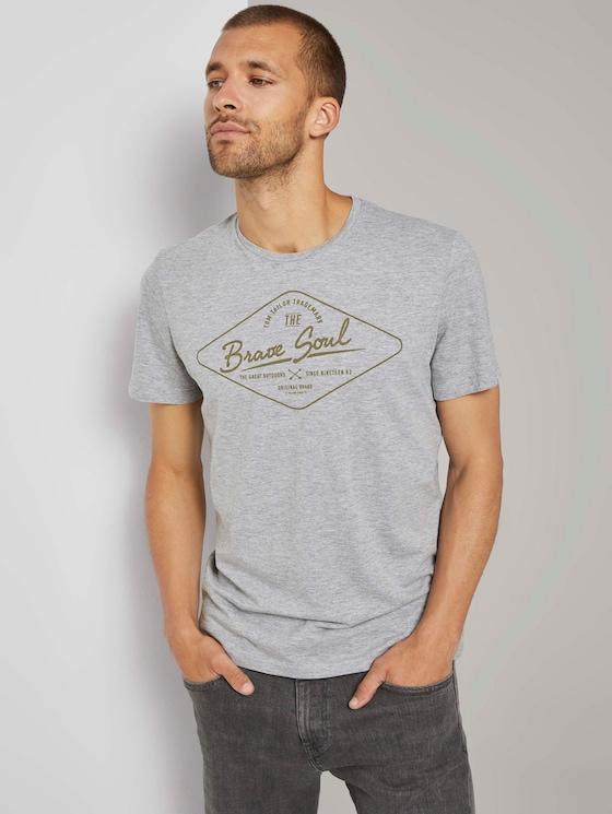 T-Shirt mit Print - Männer - Middle Grey Melange - 5 - TOM TAILOR