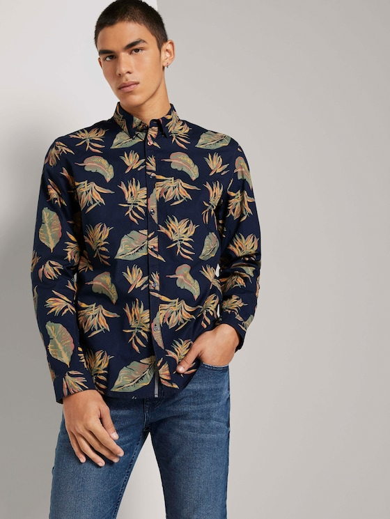 Gemustertes Slim-Fit Hemd - Männer - navy autumnal big leaves print - 5 - TOM TAILOR Denim