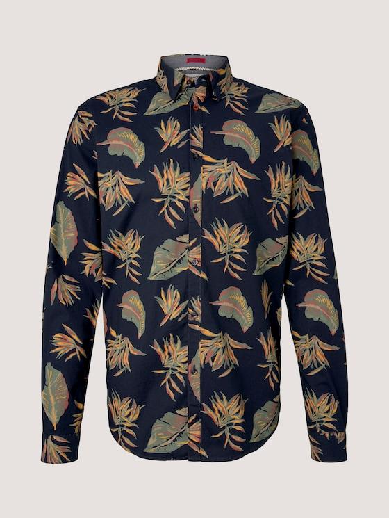 Gemustertes Slim-Fit Hemd - Männer - navy autumnal big leaves print - 7 - TOM TAILOR Denim