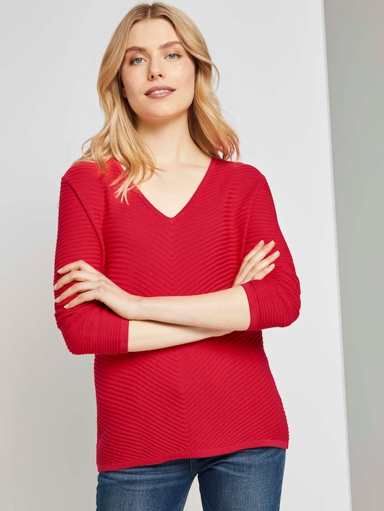 Pullover mit Zick-Zack-Struktur - Frauen - Strong Red - 5 - TOM TAILOR