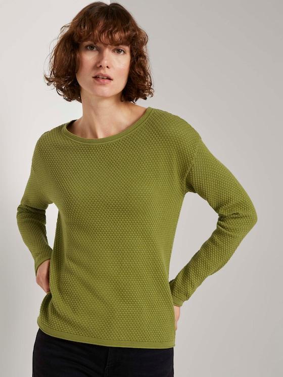 Strukturierter Pullover - Frauen - wood green - 5 - TOM TAILOR