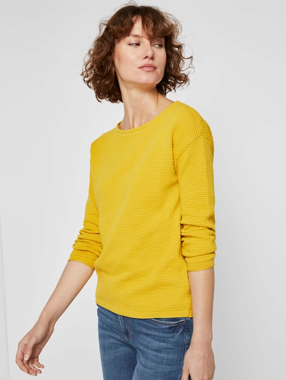 Strukturierter Pullover - Frauen - california sand yellow - 5 - TOM TAILOR